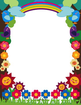 This printable meadow border is decorated with cute  colorful     This printable meadow border is decorated with cute  colorful flowers   birds and a pretty rainbow  Free to download and print