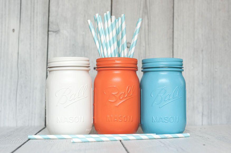 Orange painted mason jars.