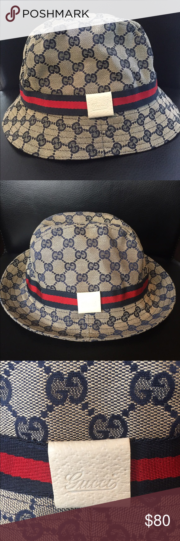Gucci Monogram Fedora GG fabric with blue/red/blue signature web. 100% Authentic. Never worn. Excellent condition. Gucci Accessories Hats