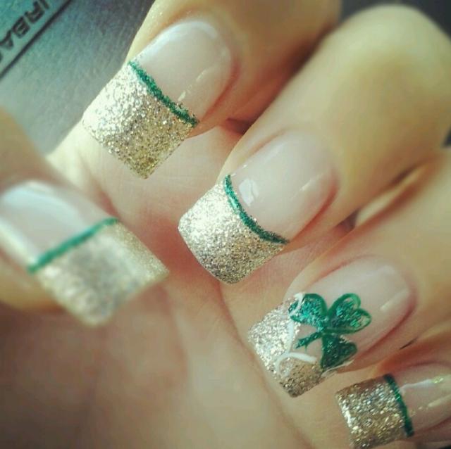 st patrick\'s day nail art   st patricks day french tip nails 16 St ...