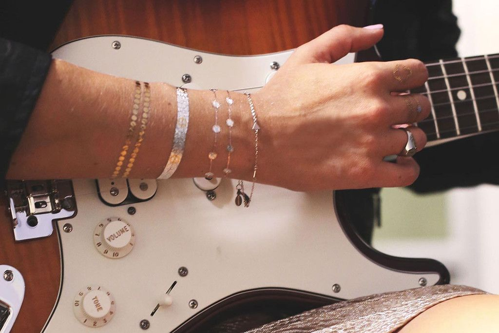 "<b>Bracelets Collection</b> <br>Wear with your Bracelet Stack<br><font color=""white"">Luxury Metallic Jewelry Tattoos</font color=""white""><br>Four full sheets of tattoos ($6/sheet)"
