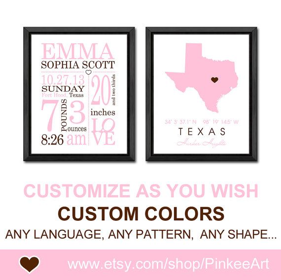 Pink brown baby girl birth stats birth statistics announcement pink brown baby girl birth stats birth statistics announcement texas new baby print personalized baby decor negle Image collections