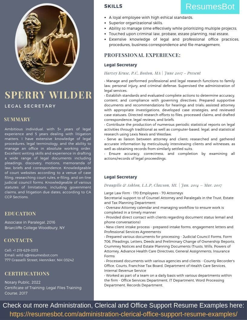 Legal secretary resume samples templates pdfdoc 2019
