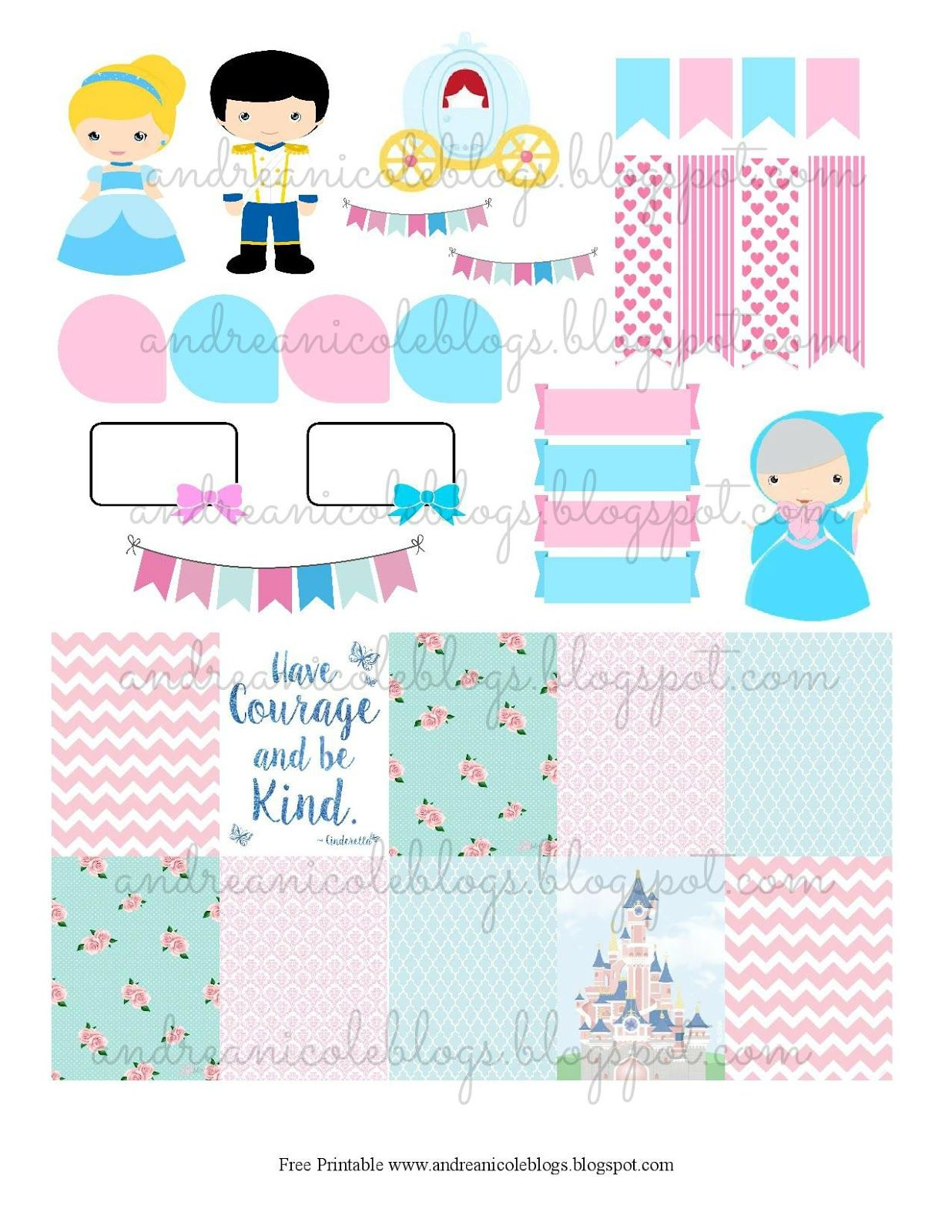 andrea nicole have courage and be kind free cinderella planner printable planners. Black Bedroom Furniture Sets. Home Design Ideas