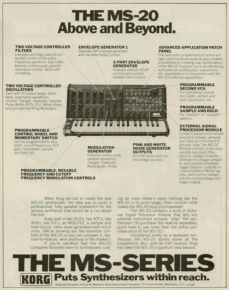 Korg MS-20 advert