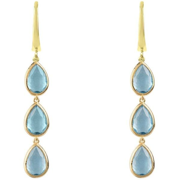 Latelita London Sorrento Triple Drop Earrings Gold Aqua Chalcedony AMirHFpwJ