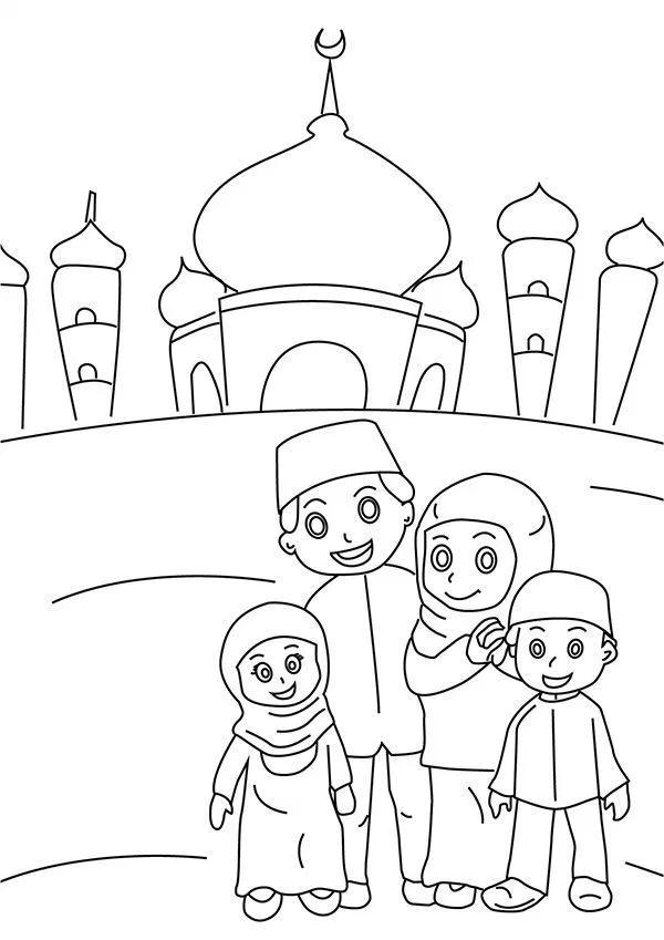 Gambar Mewarnai Masjid Ramadan Buku Mewarnai Lembar Mewarnai