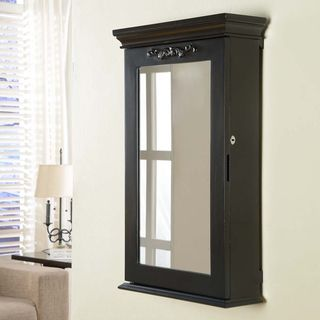 Morris Black Wall Mounted Jewelry Armoire Box With Lock Wall