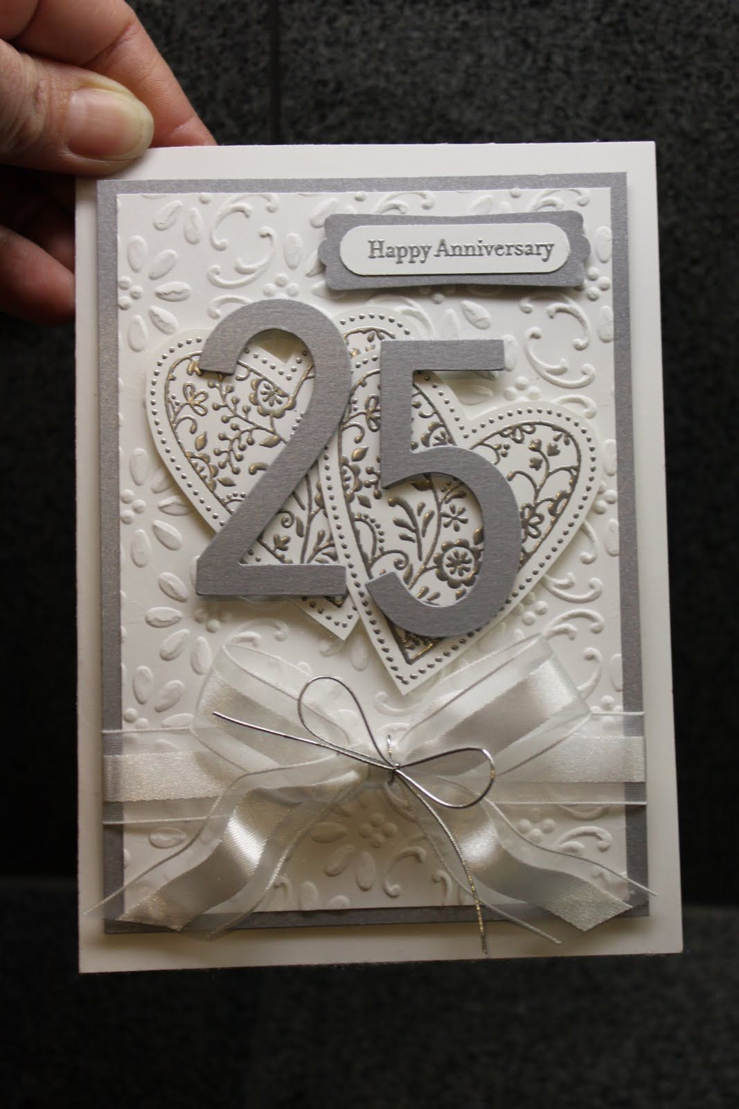 Card Making Ideas For 25th Anniversary Part - 15: Very Nice Silver Anniversary Card. I Will Probably Use It In Different  Couloirs For Any # Anniversary Cards,Cards/Tags That Inspire  Me.,Craftyyy,Hand Made ...