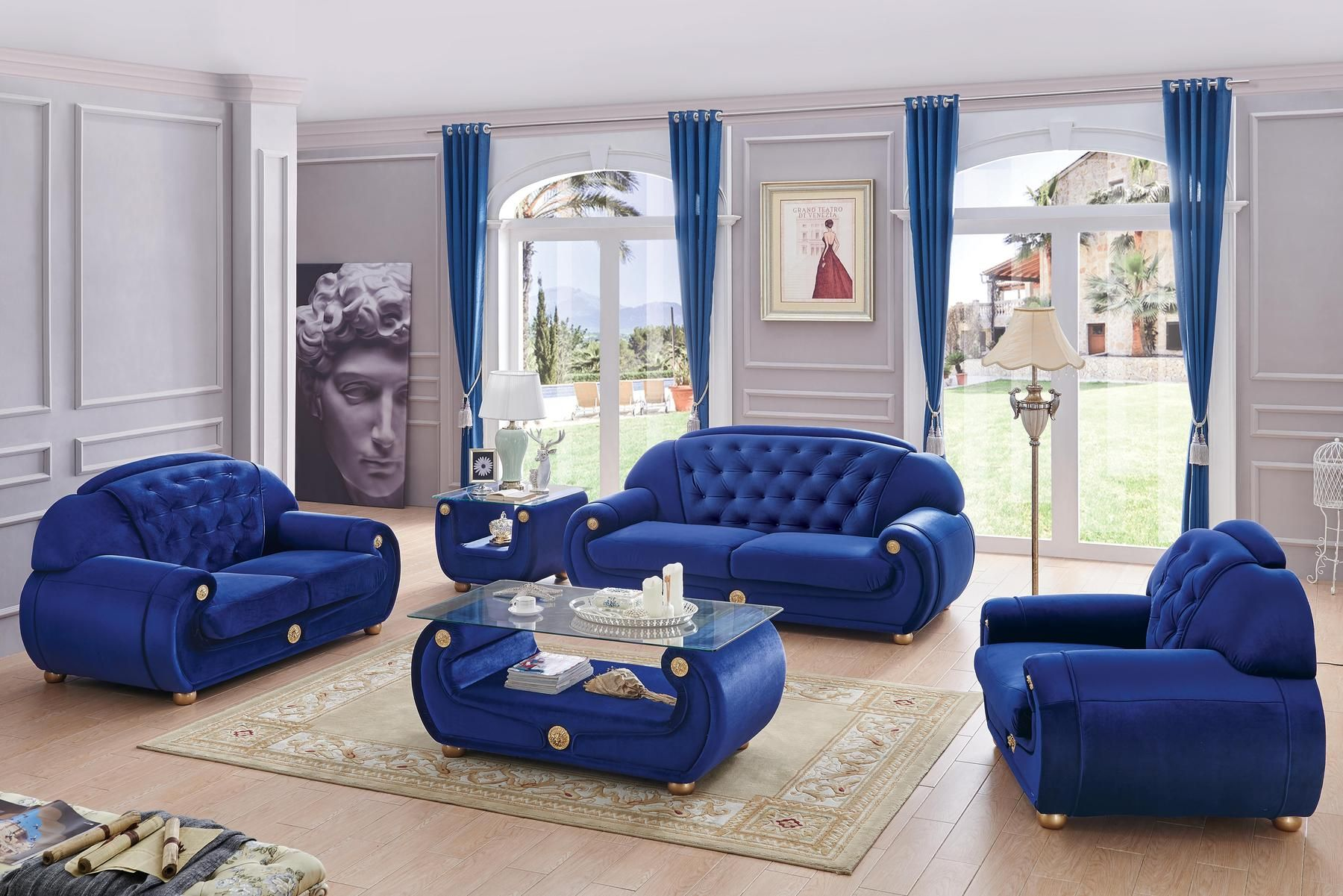 Best Esf Giza Blue Full Fabric Tufted Backs Traditional Couch 400 x 300