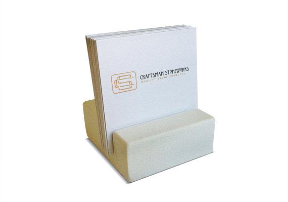 Square Business Card Holder White Quartz Office Desk Home