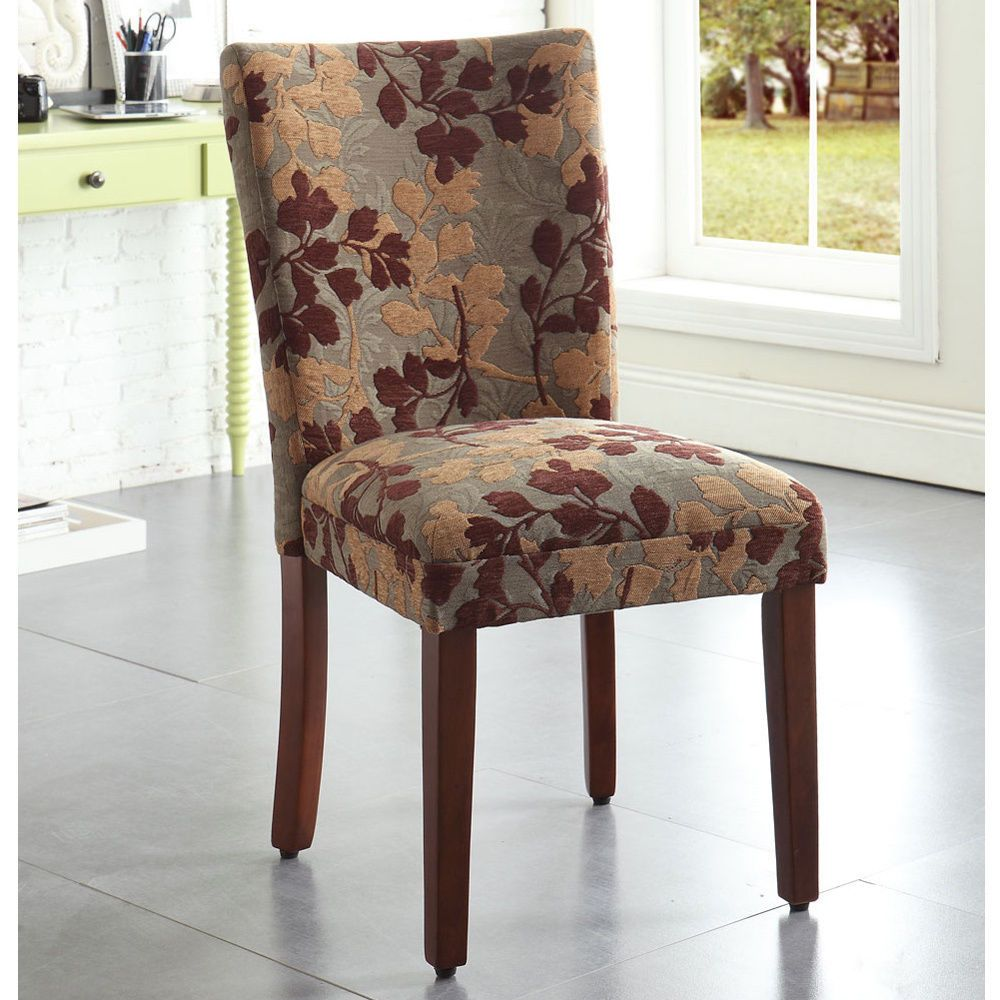 Classic high back brown tan sage leaf fabric dining chair