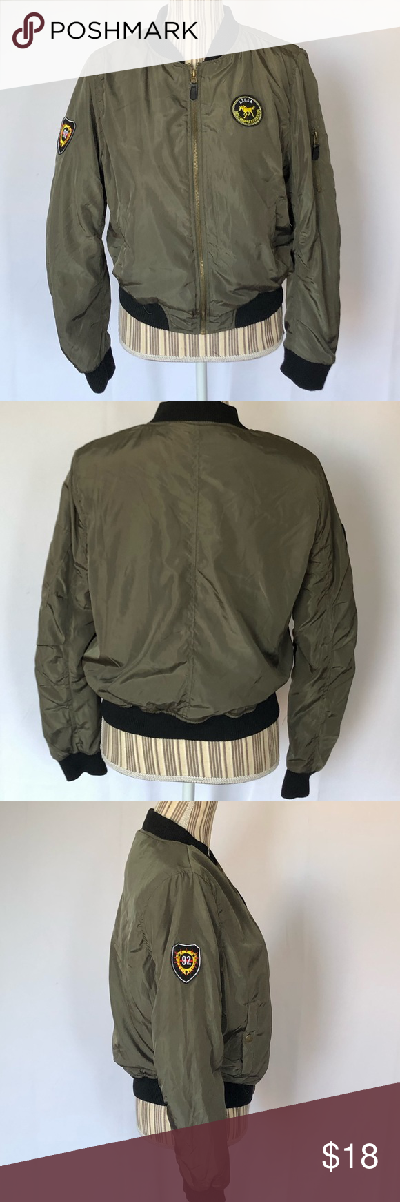 Ambiance Green Bomber Jacket With Patches Size Lg Bomber Jacket Bomber Jacket Patches Green Bomber Jacket [ 1740 x 580 Pixel ]