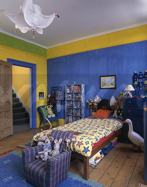 90s Kids Bedroom With Blue And Yellow Walls Modern Bedroom Decor Home Decor Luxurious Bedrooms