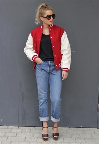 88c54d1b Vintage 1980's Red & White PVC/wool Varsity Jacket | Clothes + ...