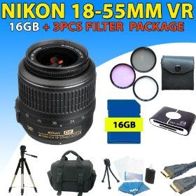 Nikon 18-55mm Vr Af-s Dx Nikkor Lens + Premium Accessory Kit for Nikon D40, D60, D90 Dslr Cameras (16gb + Filter Kit Package) $198.99