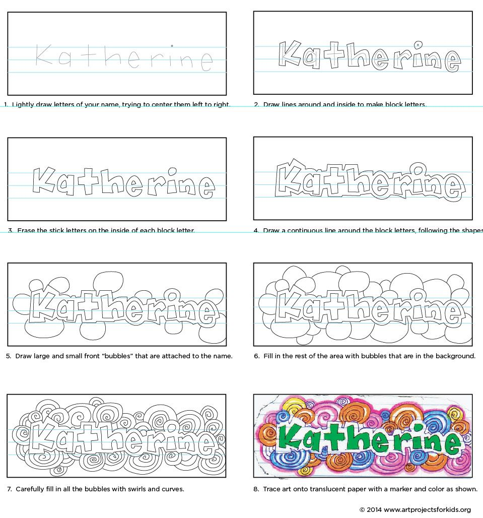 How To Doodle Your Name Art Projects For Kids Name Art Projects Art Handouts School Art Projects