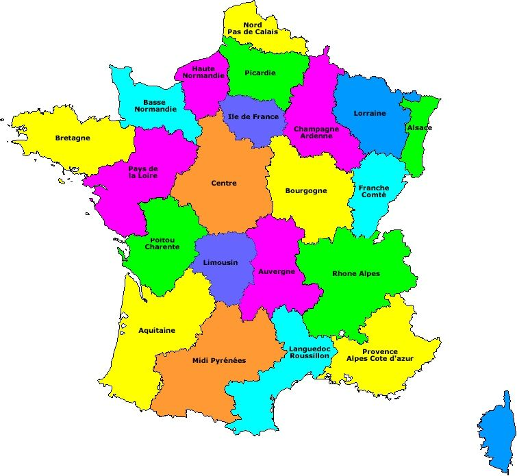carte de france des regions | FRANÇAIS | Pinterest