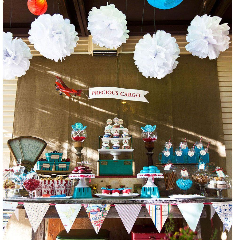 Vintage Airplane Birthday Party Airplane Baby Shower: Precious Cargo Vintage Travel Baby Shower