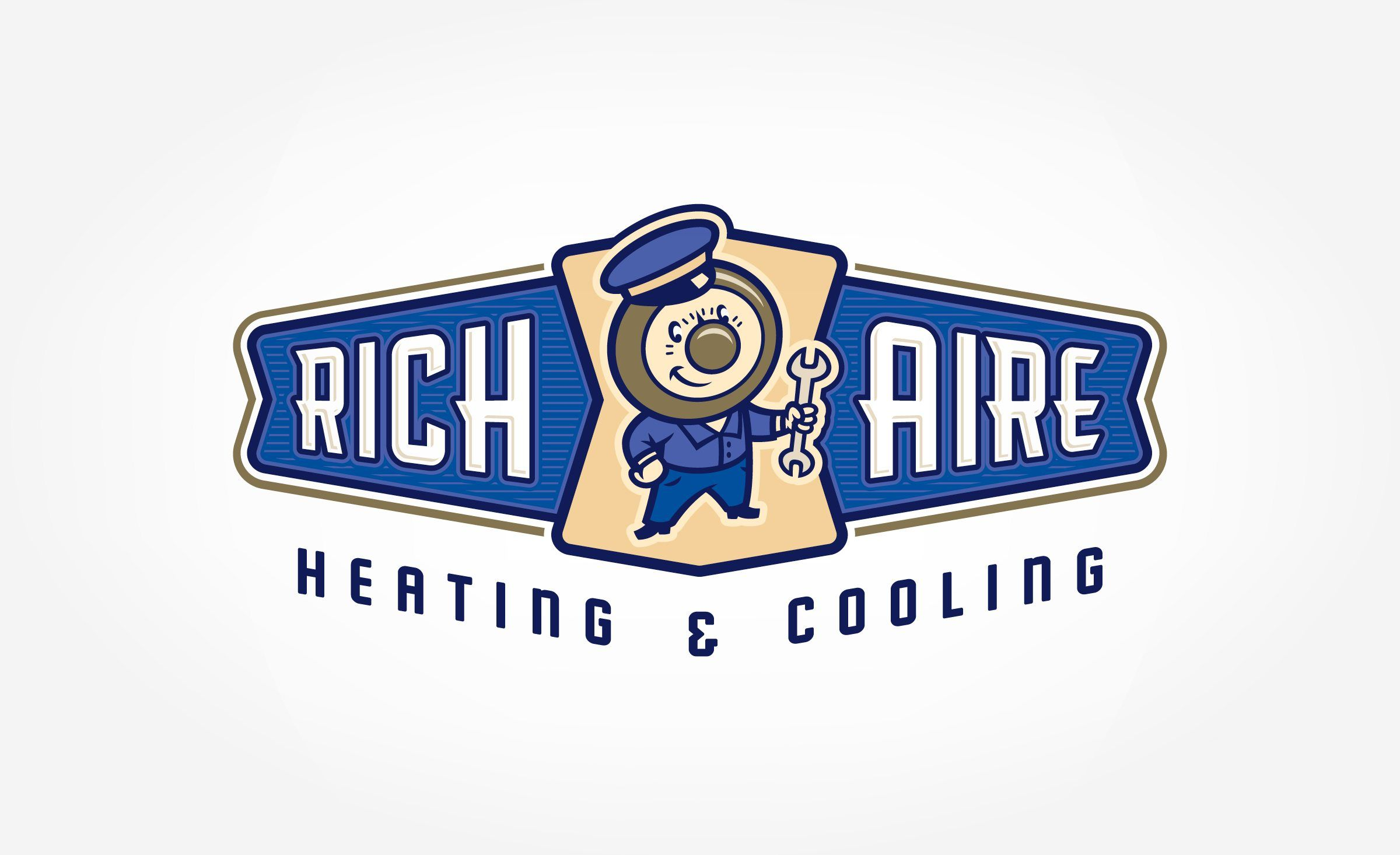 Retro Branding And Mascot Logo Design For Heating And Cooling
