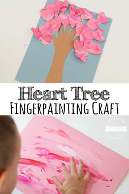 Valentines Day Fingerpainted Heart Tree Craft