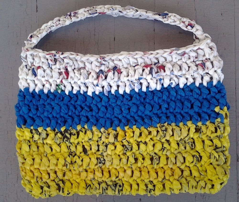 Crochet recycled plastic bags - Details About Handmade Crochet Plarn Reusable Eco Tote Recycled Plastic Bags White Yellow Blue