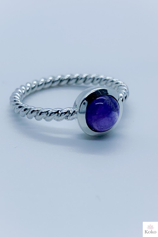 February Birthstone Ring Amethyst Silver Adjustable Ring Raw Amethyst Double Stone Ring Womens Jewellery