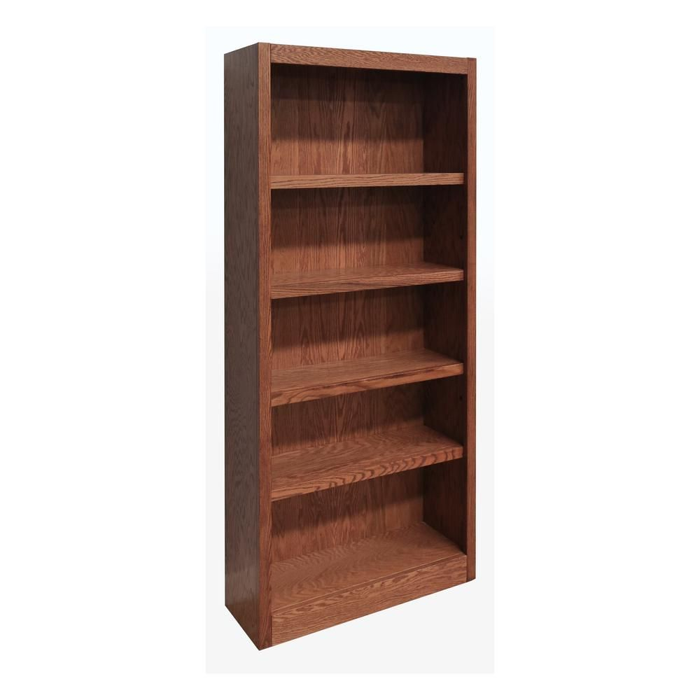 Concepts In Wood 72 In Dry Oak Wood 5 Shelf Standard Bookcase With Adjustable Shelves In 2020 Wide Bookcase Adjustable Shelving Wood Bookcase