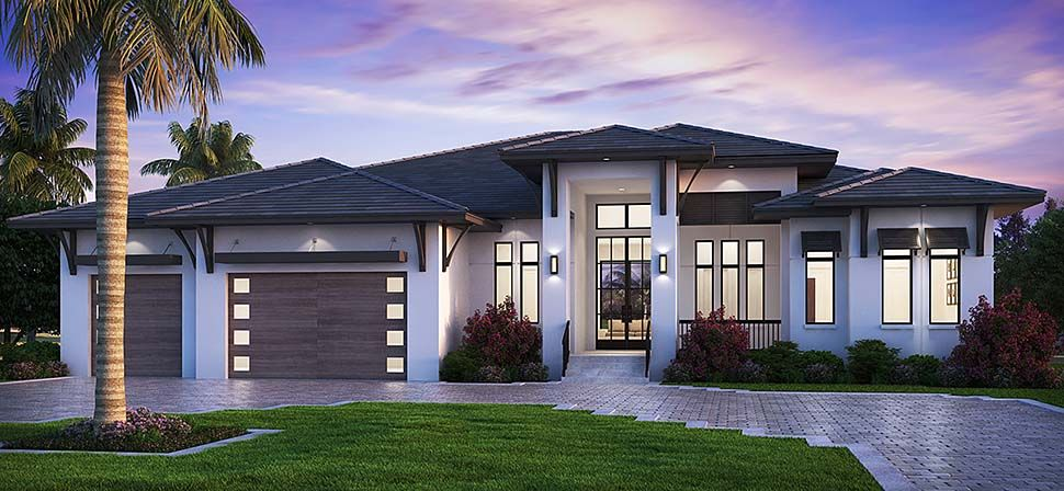 Florida Style House Plan 52961 With 5 Bed 6 Bath 3 Car Garage Florida House Plans Modern Style House Plans Contemporary House Plans