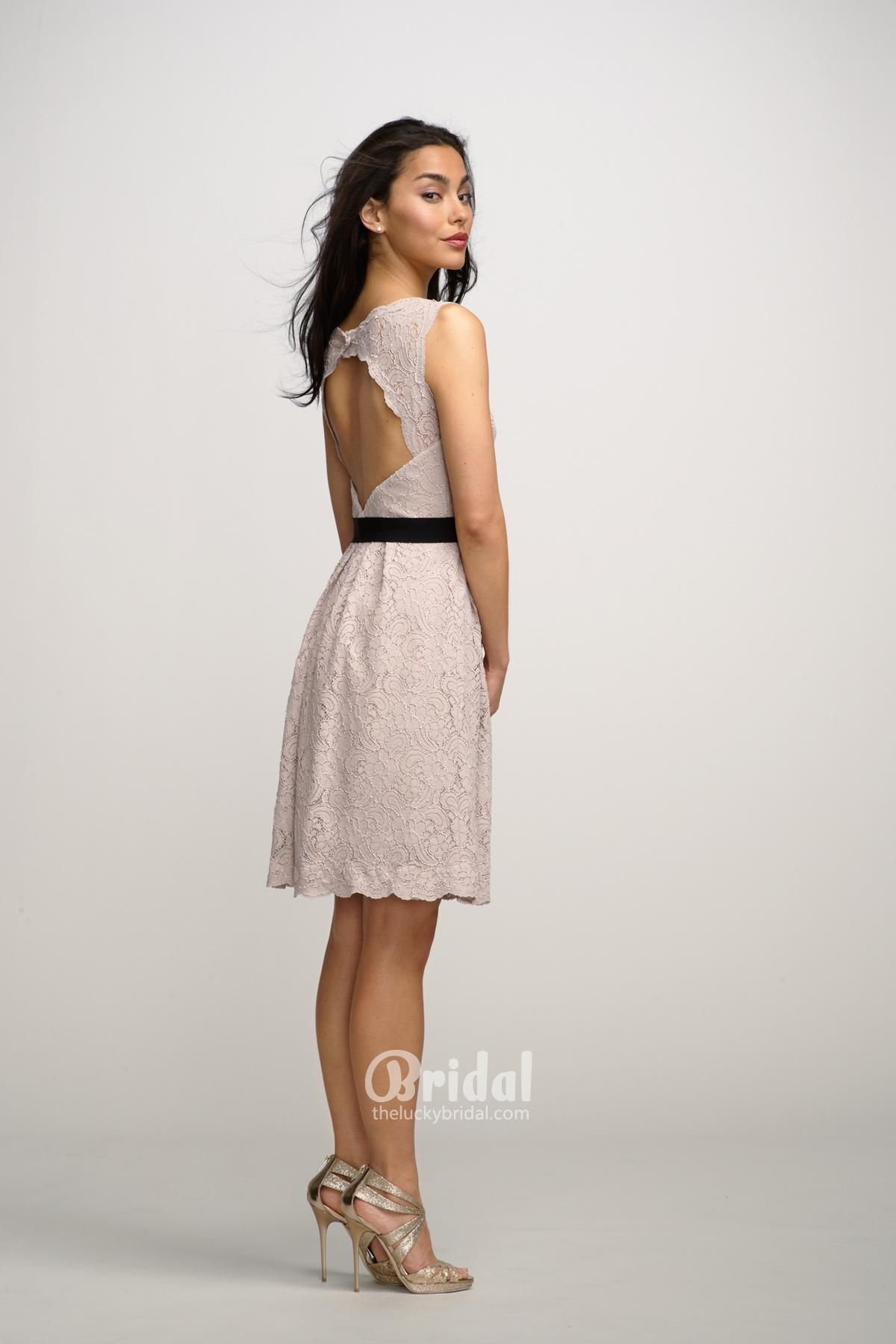 Boat neck sleeveless lace short blush dress with keyhole back