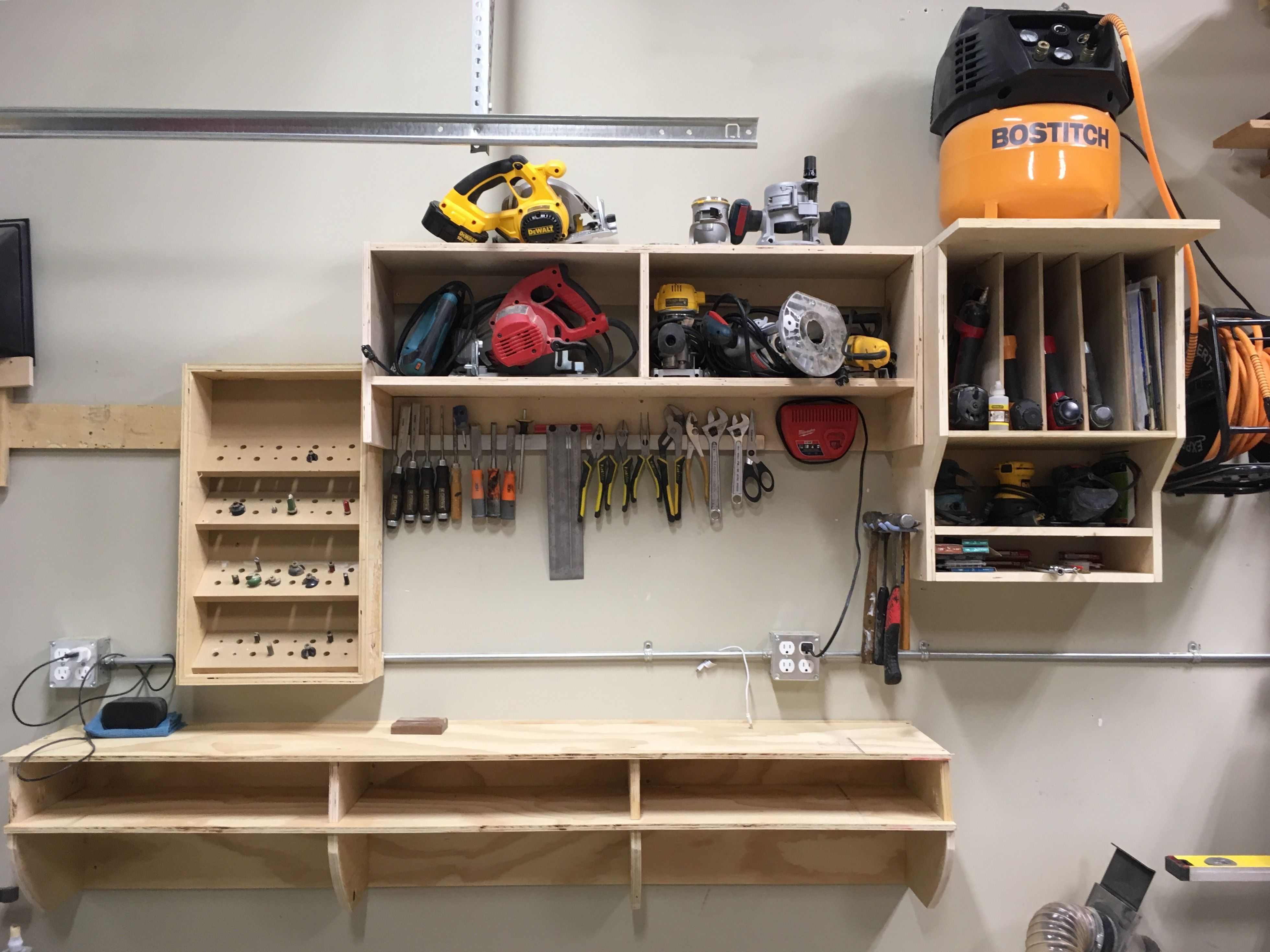 Wall mounted shop for improved organization. Open
