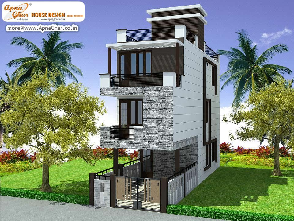 4 bedroom modern triplex 3 floor house design area 108 sq mts 6m x 18m click on this - Housessquare meters three affordable projects ...