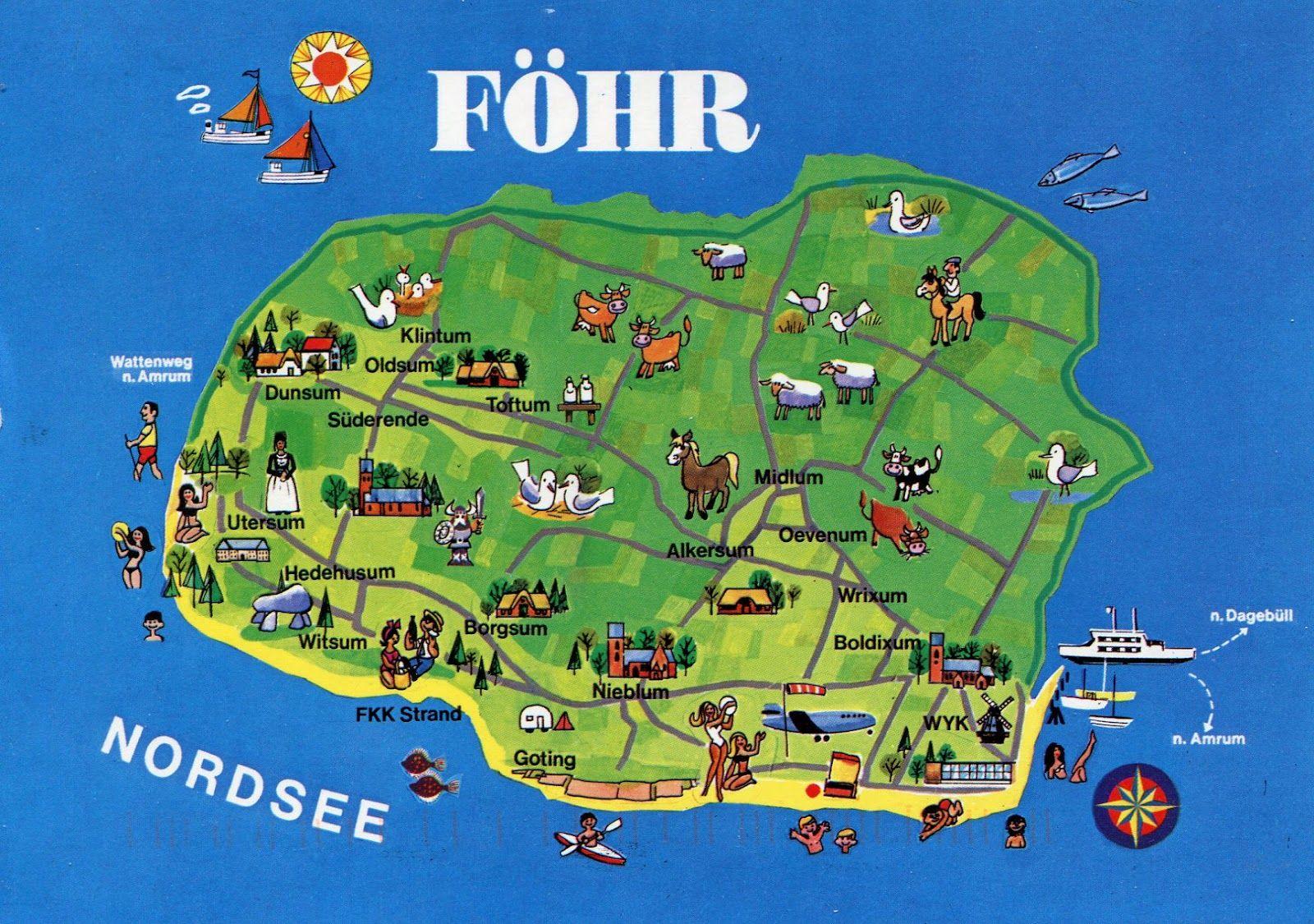 Insel Fohr Illustrated Nordseeinseln Fohr Insel Amrum