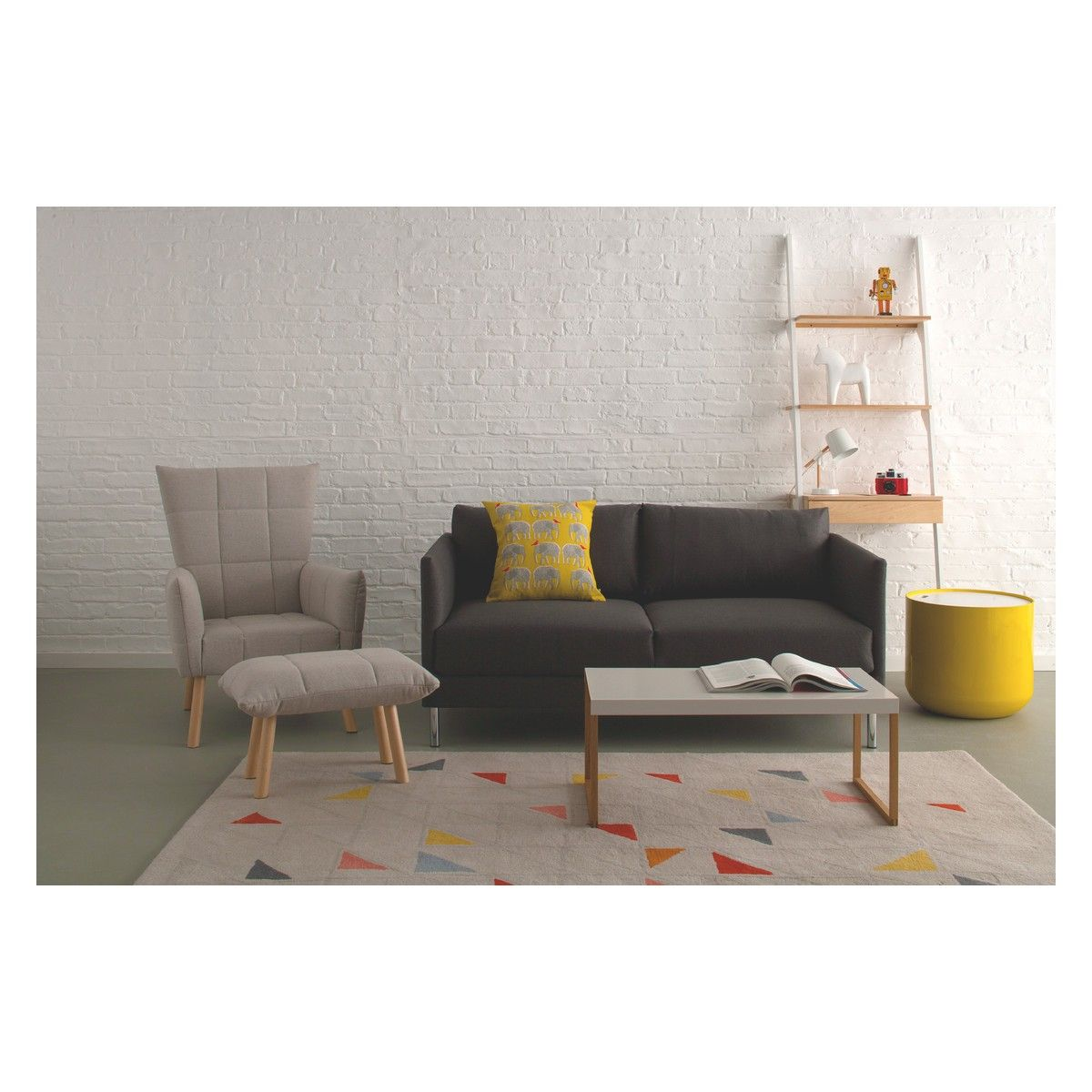Sofas Habitat hyde charcoal fabric 2 seater sofa wooden legs wooden leg grey