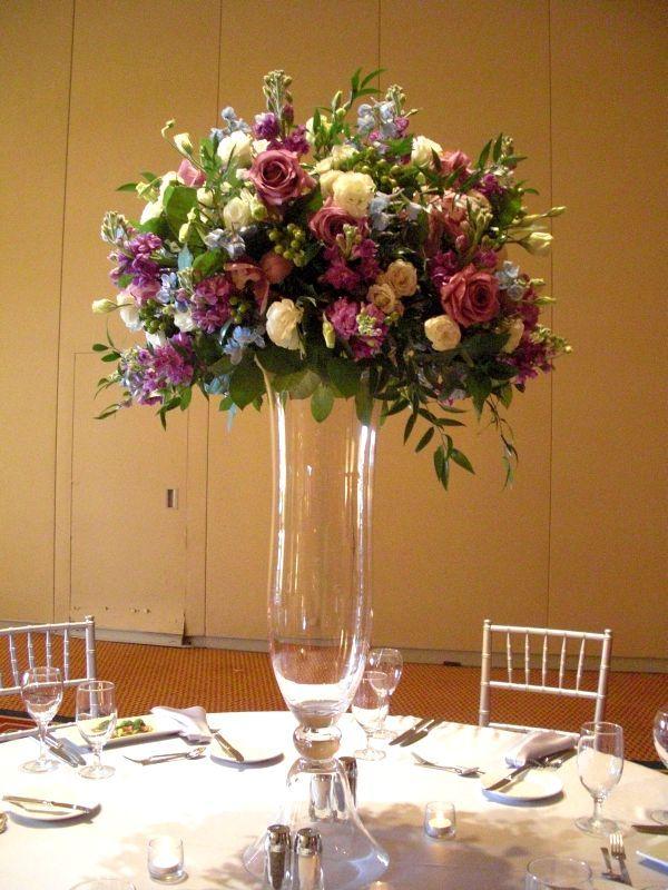 Purple Flower Arrangements Centerpieces Set Up