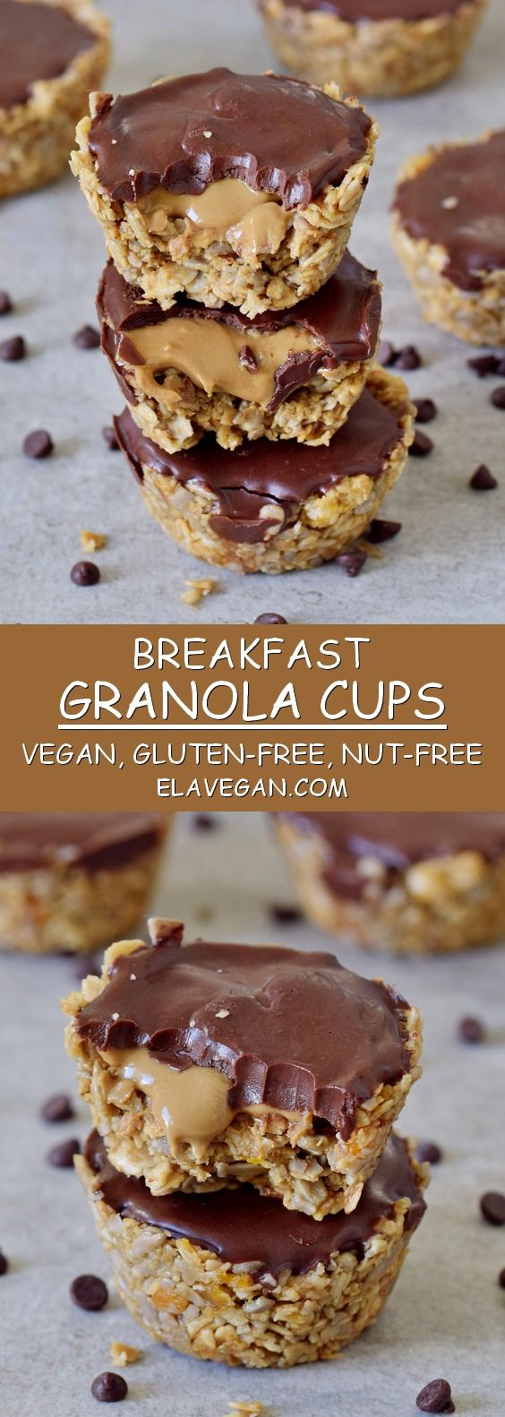 These breakfast granola cups are super easy to make in just a few steps! You'll only need 6 ingredients in total! The recipe is vegan, gluten-free, and nut-free (no peanut butter!)! These cups are perfect as a breakfast, dessert or snack! #vegan #glutenfree #breakfast #granola #cups #dessert | elavegan.com #glutenfreebreakfasts