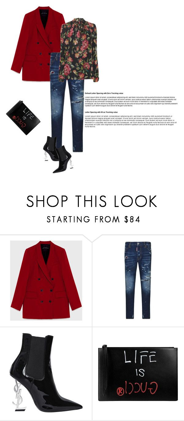 """Без названия #4675"" by olesyal ❤ liked on Polyvore featuring Dsquared2, Yves Saint Laurent, Dolce&Gabbana and Gucci"