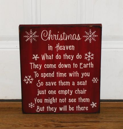 Christmas In Heaven Poem With Chair Printable.Christmas In Heaven Primitive Wood Sign Inspire