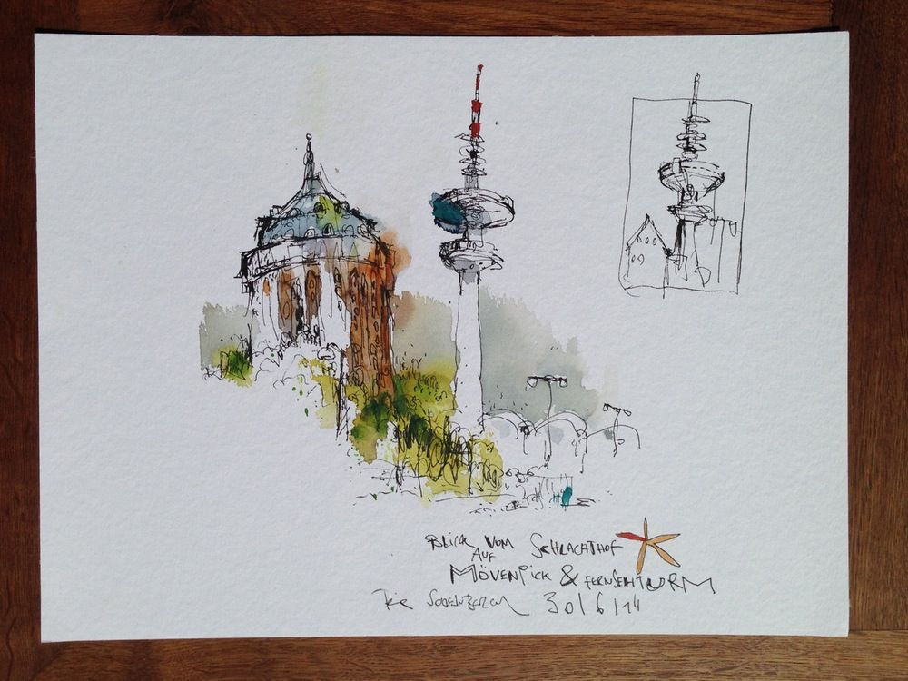 Image of Blick vom Schlachthof auf Fernsehturm | Painting 2 ...