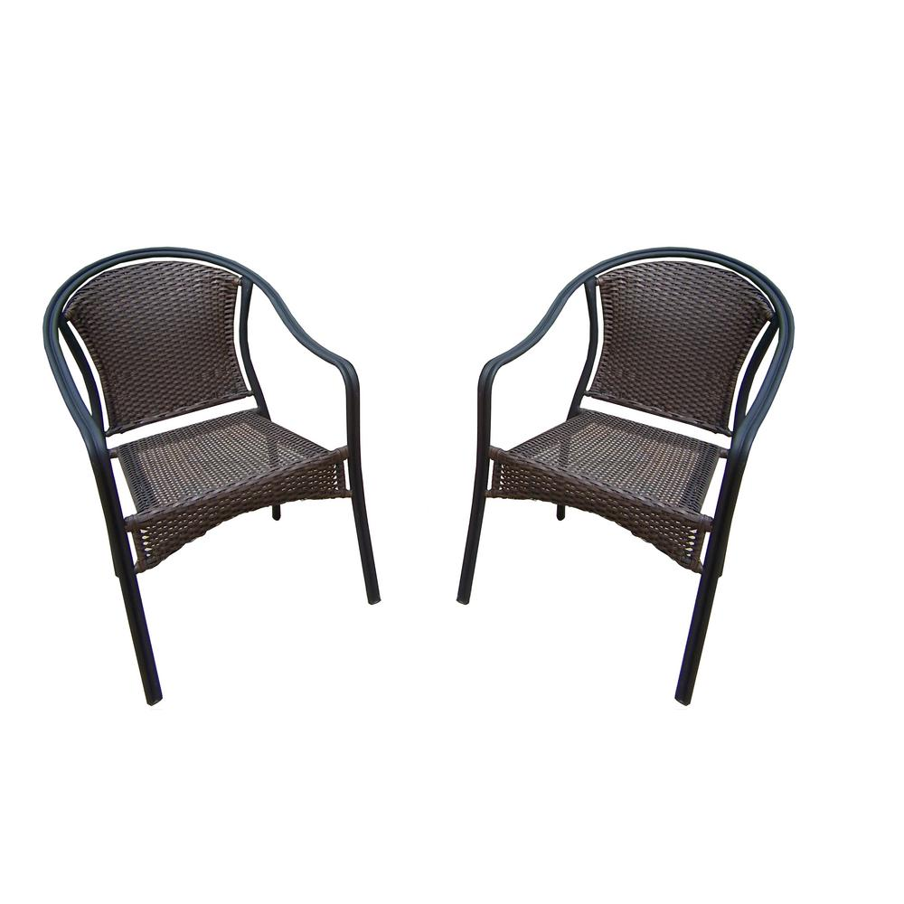 Tuscany wicker outdoor dining chair pack in patio