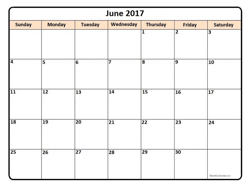 June 2017 printable calendar | 2017 Printable calendars ...