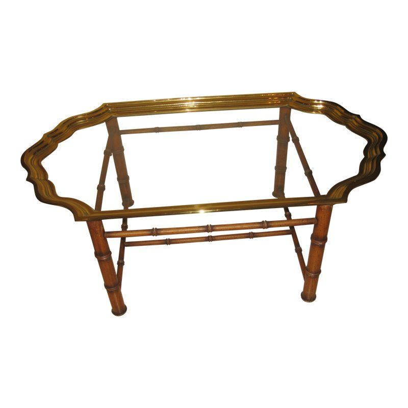 Vintage Brass Glass Top Tray With Bamboo Base Coffee Table Large