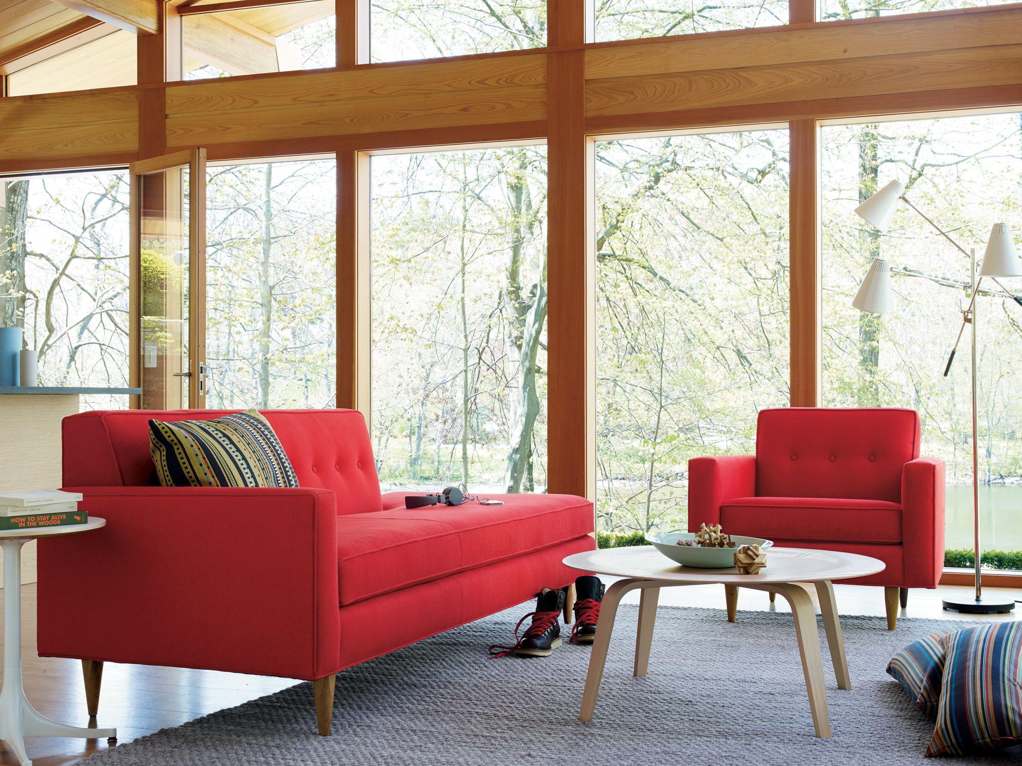 Hello red Bantam Sofa Collection designed by DWR Design Studio