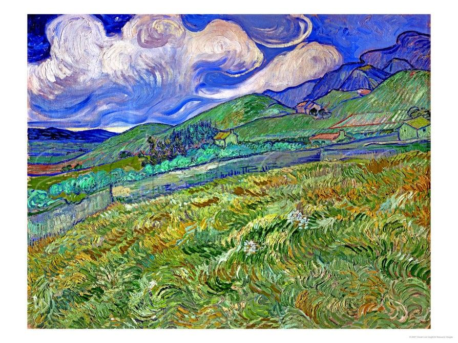 Wheatfield and Mountains, c.1889 Giclee Print by Vincent van Gogh at Art.com