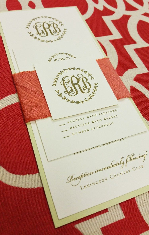 Laurel Wreath Casual Calligraphy Monogram Gold Ink Wedding ...