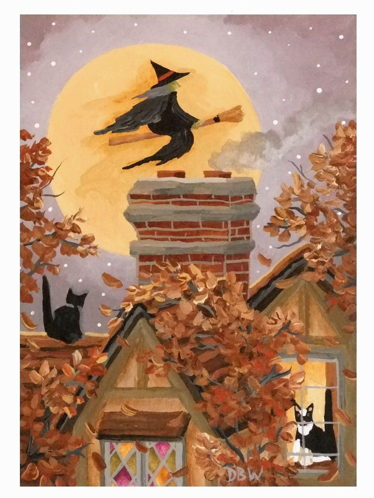Aceo Original Acrylic Painting Folk Art Halloween Witch