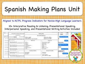 Spanish Making Plans Unit Spanish Classroom Activities How To Plan The Unit