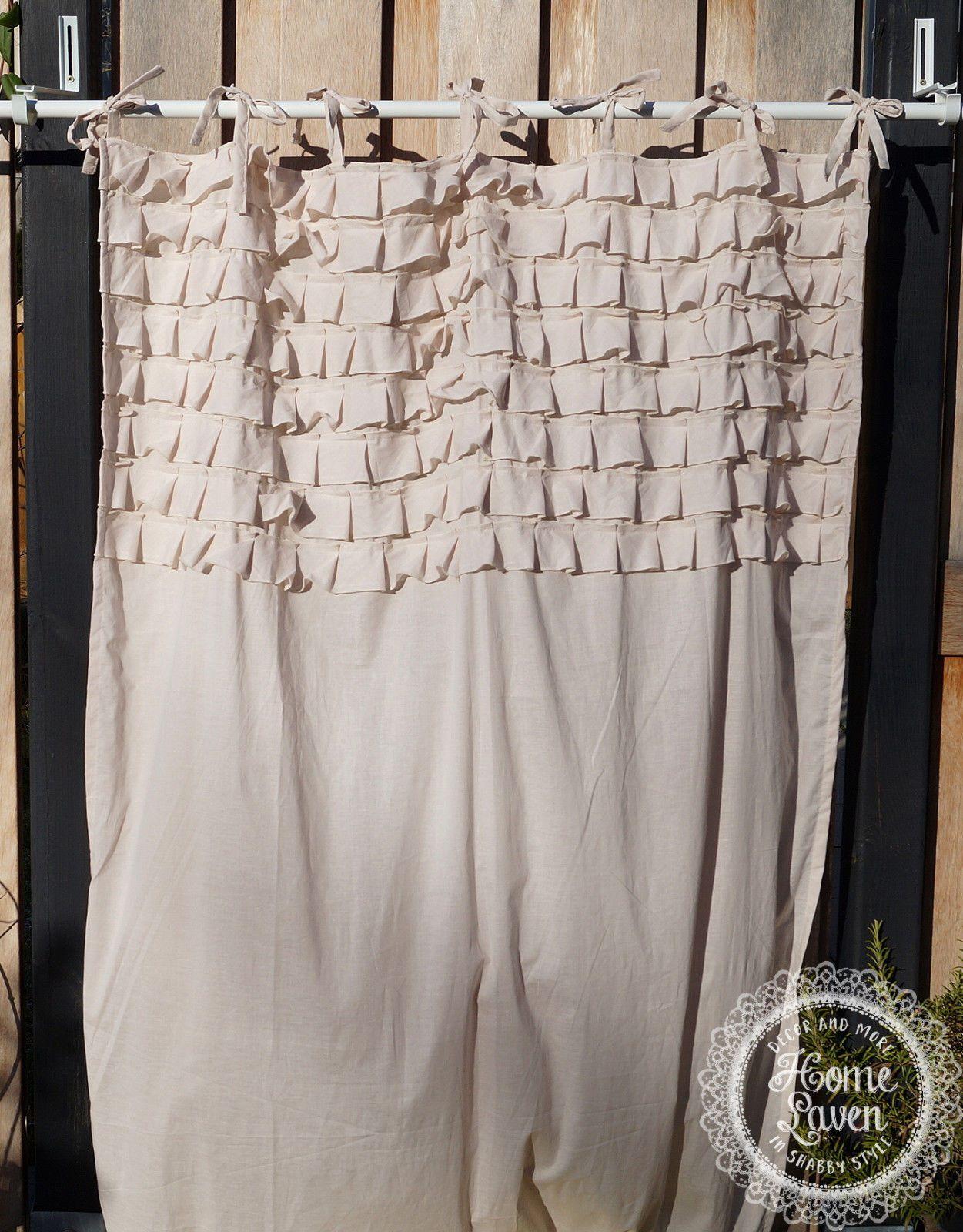 gardine vorhang 110 x 240 puderbeige rüschen landhaus shabby, Badezimmer ideen