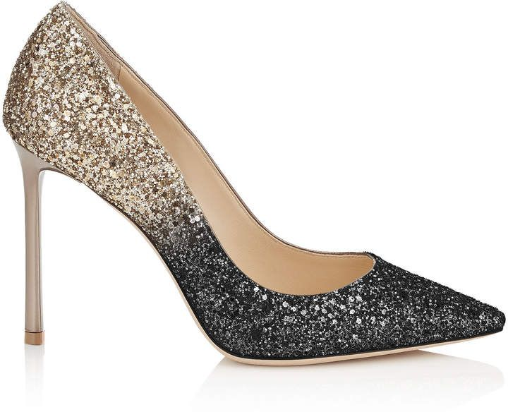 df1f9278fdf Jimmy Choo ROMY 100 Black and Nude Coarse Glitter Degradé Pointy Toe Pumps