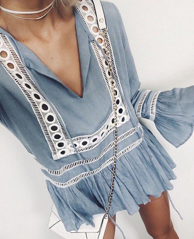69a394e851  spring  outfits Blue Embroidered Dress  amp  White Shoulder Bag Spring  Fashion